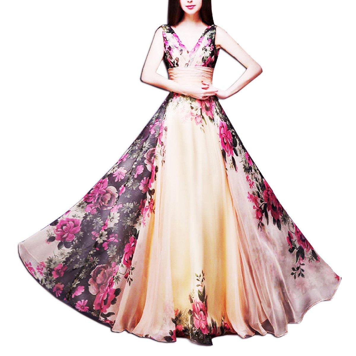 8b8782aae7ac KAXIDY Vestito Fiore Donna Vestiti da Sera Eleganti Vestito da Sera Lungo  Abiti da Cocktail Abiti da Sera Rosa Giallo  Amazon.it  Abbigliamento