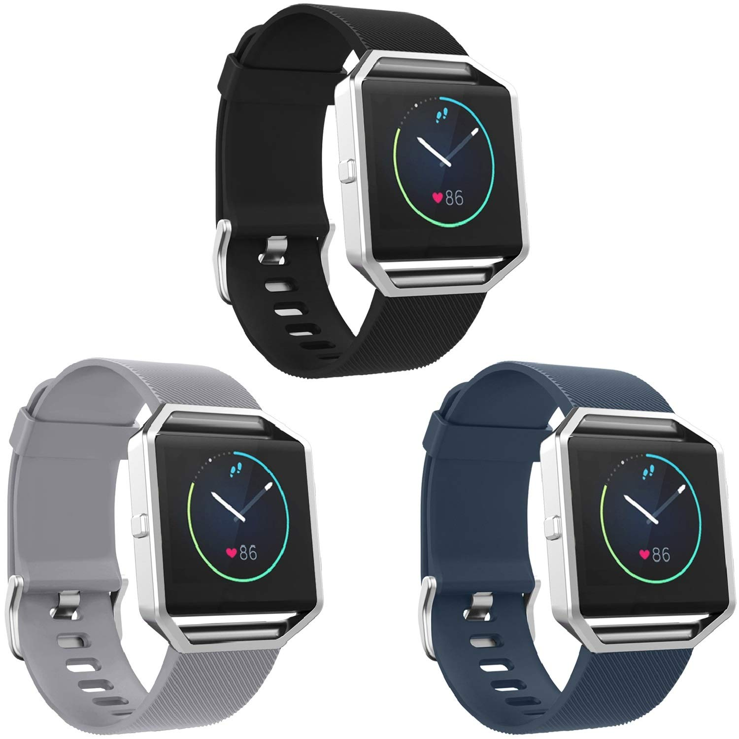 SKYLET Compatible with Fitbit Blaze Bands, 3 Pack Soft Silicone Replacement Sport Wristband with Stainless Steel Frame Compatible with Fitbit Blaze Bracelet Black Men Women by SKYLET