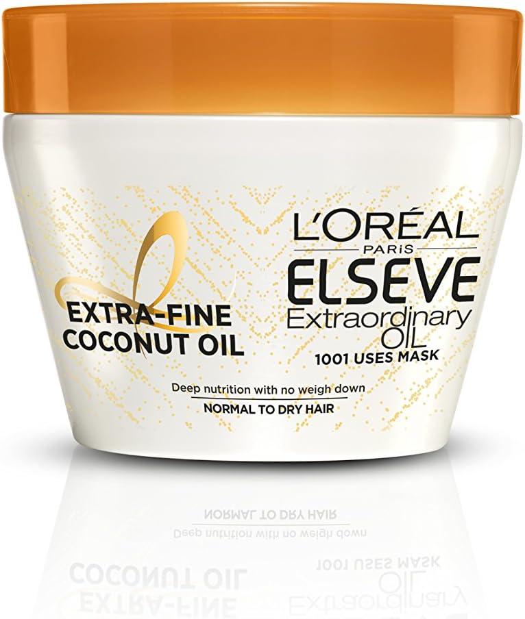 L'Oréal Paris Elsève Aceite Extraordinario Coco Mascarilla Uso Universal Nutrición Intensa Cabello Normal a Seco 300 ml