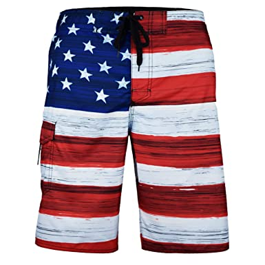 "d0f8c3df39 VBRANDED Men's American Flag 10.5"" Inseam Patriotic Board Shorts ..."