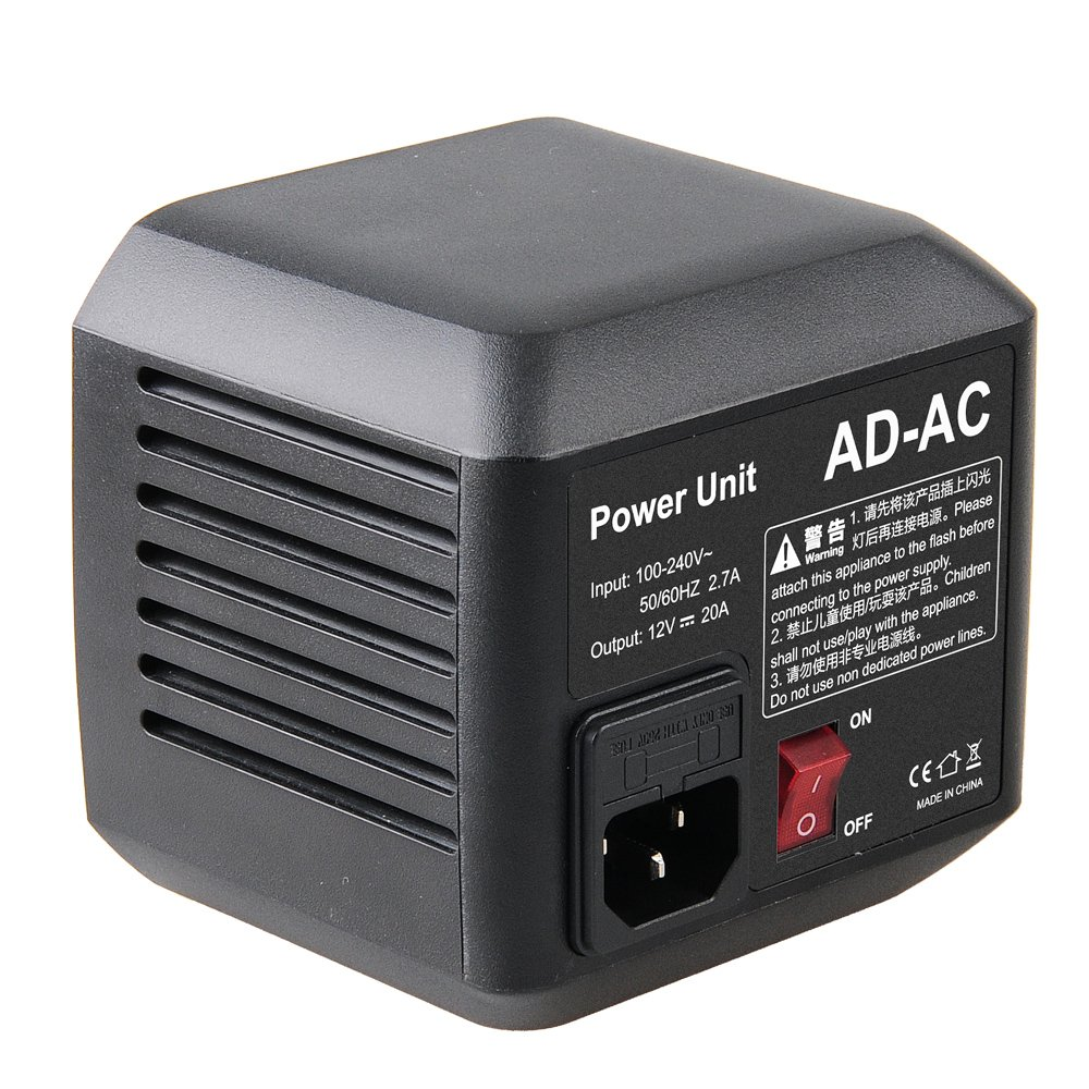 Godox AD-AC Power Source Adapter Unit with 5M Cable for Godox AD600 AD600M AD600B AD600BM Flashpoint XPLOR 600 Flash + CEARI MicroFiber Cloth