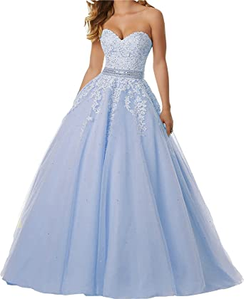 Gemila Womens Sweetheart Lace Applique Strapless Long Pagenat Prom Dress Sky Blue US2
