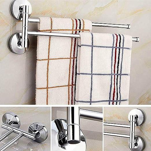 BGL Portasciugamani girevole con porta asciugamani da parete con doppia barra girevole per bagno colore: Nero
