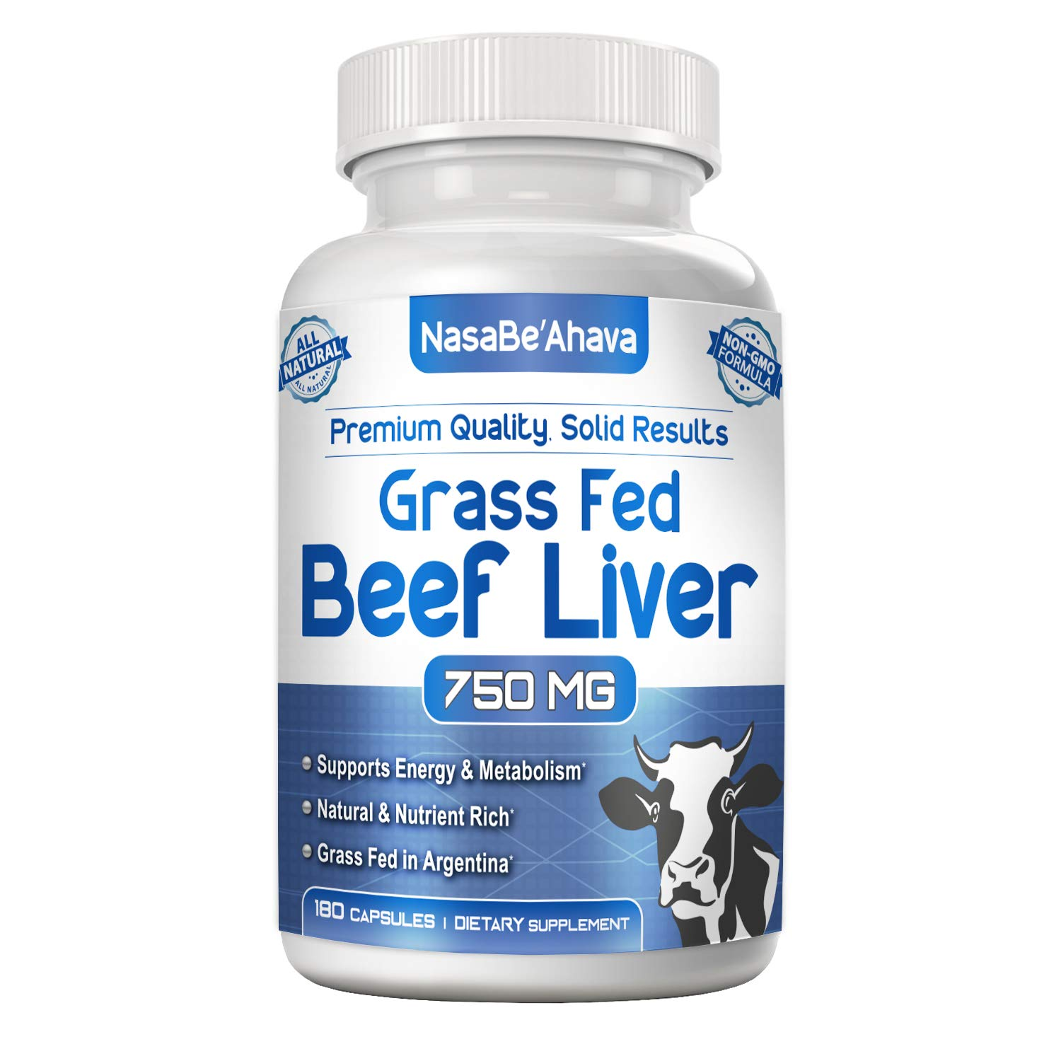 NASA Beahava Grass Fed Beef Liver (Desiccated) - 180 Capsules - Argentine Pasture-Raised Beef Liver Pills - 3000mg Supplement Powder Per Serving - Natural Iron, B12, Vitamin A for Energy - Non-GMO by NasaBeahava
