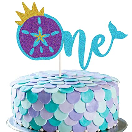 Mermaid Topper First Birthday Cake Topper Mermaid Cake Topper Purple and Aqua Party Under the Sea Mermaid Cake Topper Mermaid Party