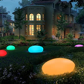 Gartenleuchte Solar Kieselstein Form A Solarlampen 16 Farben IP54 Wasserdichte