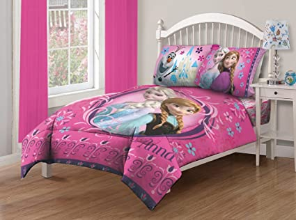Charmant Disney Frozen Nordic Florals Comforter Set With Fitted Sheet, Twin, Pink
