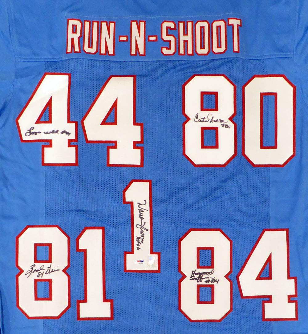 HOUSTON OILERS RUN & SHOOT AUTOGRAPHED JERSEY WITH 5 SIGNATURES INCLUDING WARREN MOON