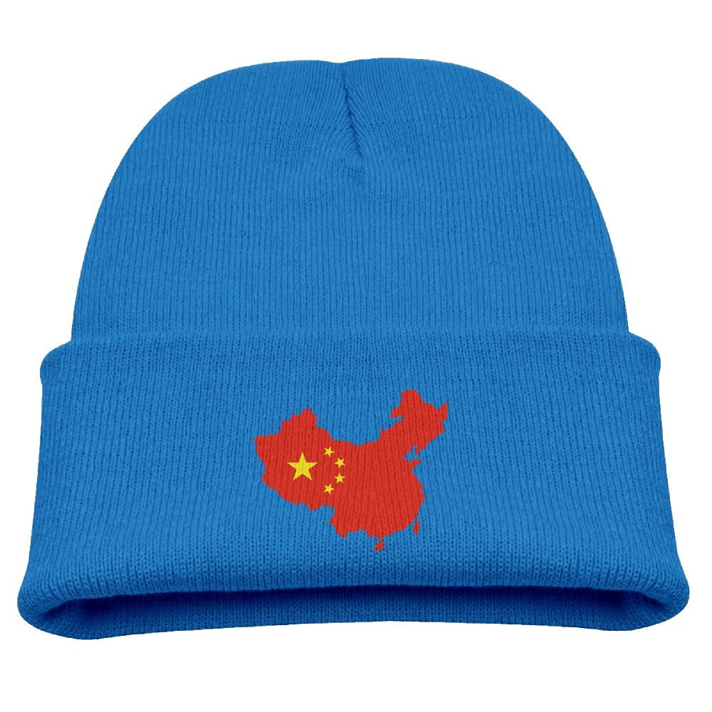 JXC-L China Flag Map Hats Cute Soft Knit Beanie Caps for Kids Unisex