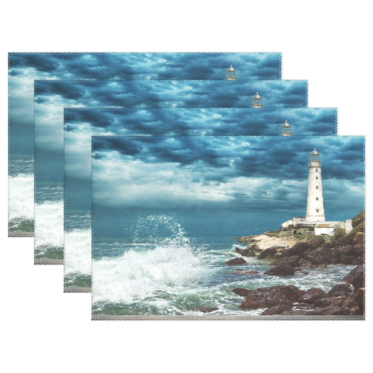 ALAZA Lighthouse and Wood Pier Placemats for Dining Table Heat Resistant Kitchen Table Decor Washable Table Mats 1 Piece