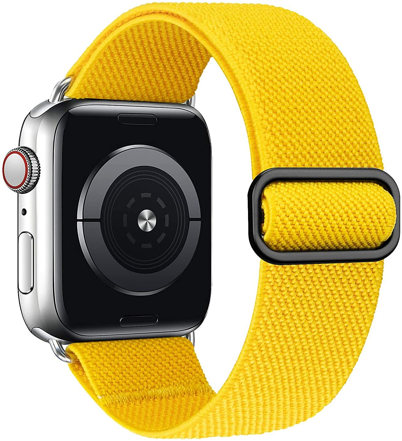 MEULOT Stretchy Braided Solo Loop Band Compatible with Apple Watch Band 38mm 40mm 42mm 44mm Adjustable Nylon Elastic Sport Women Men Strap Compatible with iWatch Series 6/5/4/3/2/1 SE Yellow 38/40S