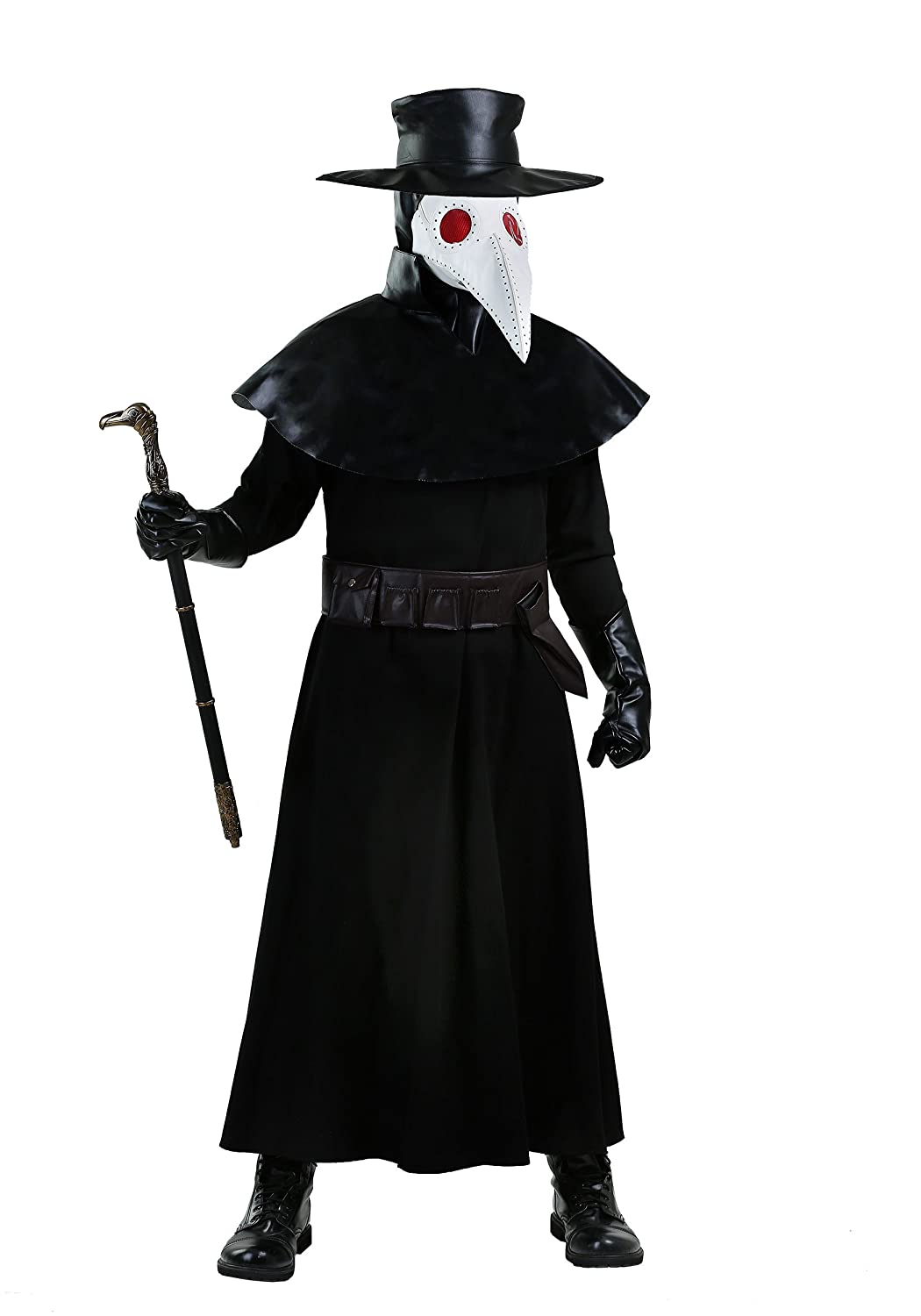 Adult Plague Doctor Black Faux Leather Costume