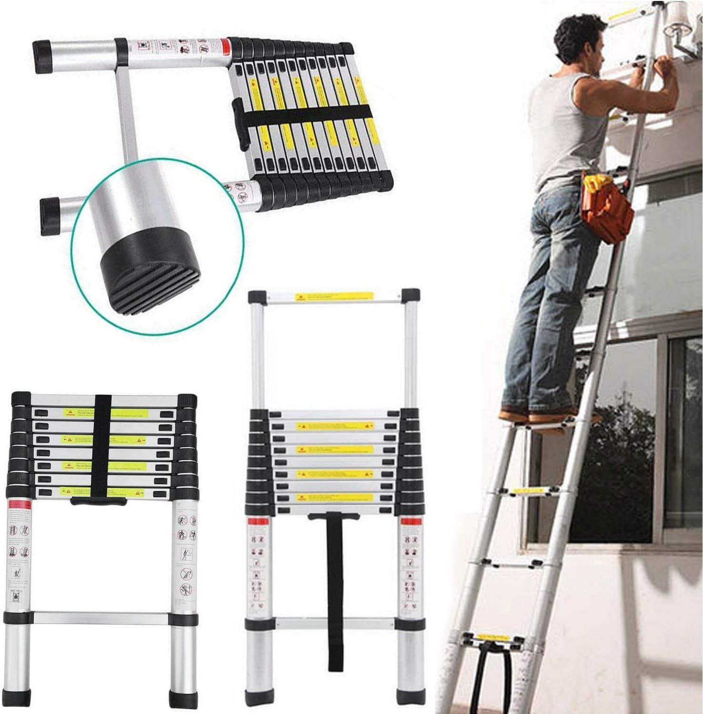Escalera telescópica alta multiusos de aluminio extensible escalera portátil plegable escalera Loft Attic Straight Escalera 330 libras capacidad EN131 estándares (3,2 m): Amazon.es: Bricolaje y herramientas