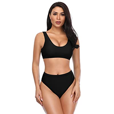 SHEKINI Women's Sport Low Scoop Crop Top High Waisted Bottom Two Piece Swimsuits: Clothing