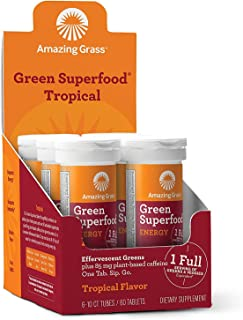 product image for Amazing Grass Effervescent Energy Tablets: Greens + Green Tea Caffeine, Water Flavoring Tablet with Antioxidants, Tropical, 60 Count