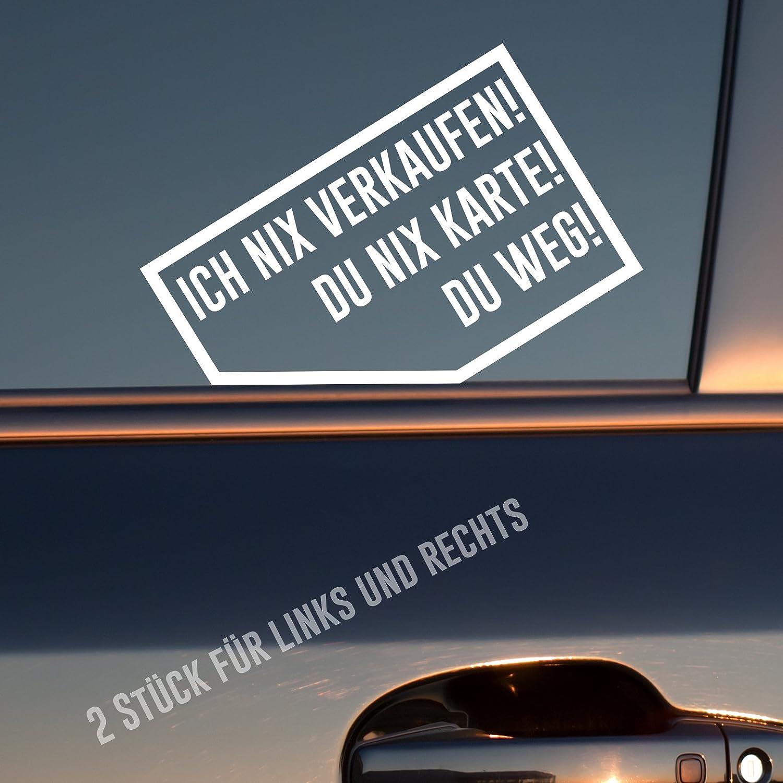2 St/ück Rechts /& Links je 9x5,7 cm Sticker Du Weg Auto Aufkleber in deiner Wunschfarbe Ich nix nix Karte