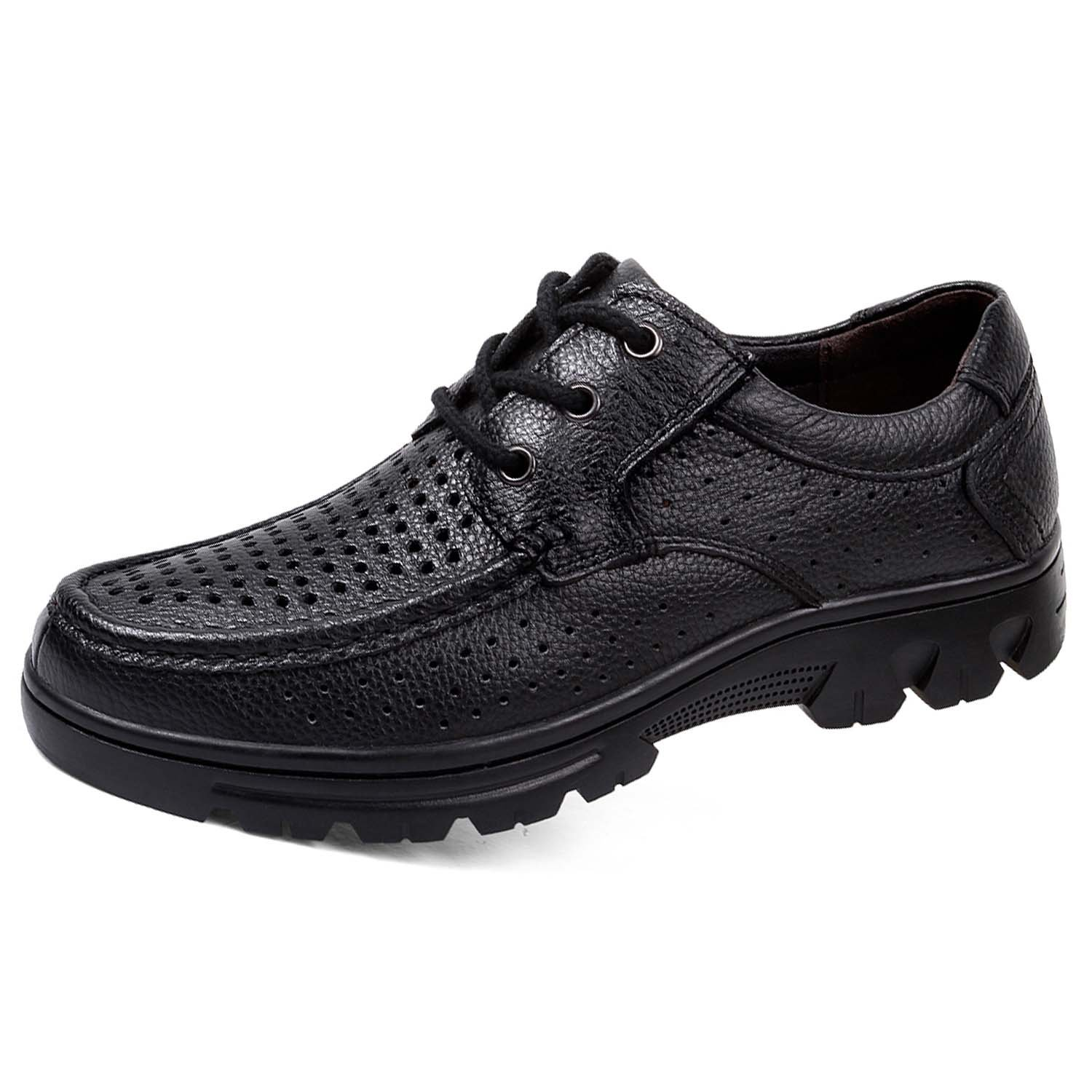Men's Oxford Breathable Mesh Dress Shoes Lace-up Formal Modern Classic Business Genuine Cow Leather Chelsea Black 47