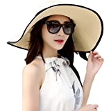 Lanzom Womens Big Bowknot Straw Hat Foldable Roll up Sun Hat Beach Cap UPF 50+