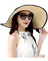 Lanzom Womens Big Bowknot Straw Hat Foldable Roll up Sun Hat Beach Cap UPF 50+