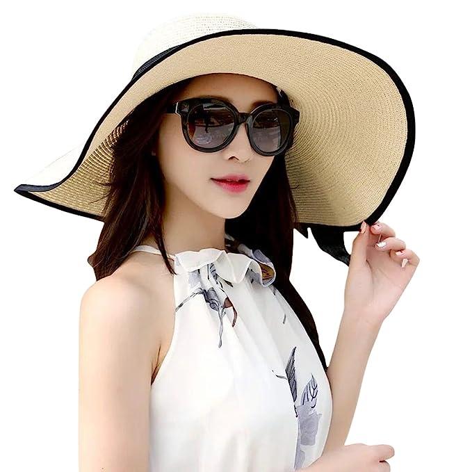 398449226d43e2 JOYEBUY Women's Floppy Big Brim Hat Bowknot Straw Hat Foldable Roll up  Beachwear Sun Hat UPF