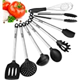 SZUAH Kitchen Utensil Set, 8 Cooking Utensils, Stainless Steel & Silicone Spatula, Heat Resistant, Non Stick, BPA Free, FDA Approved.