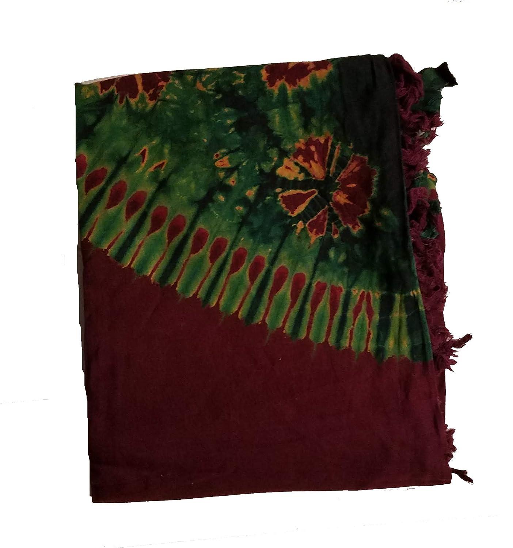 Maroon Gold Green Masai Maasai Tie Dye Sarong Shawl Leso Shuka