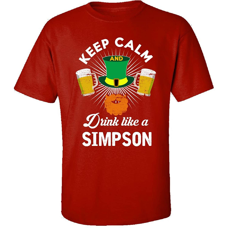 St Patricks Day Keep Calm Drink Like A Simpson Irish - Adult Shirt