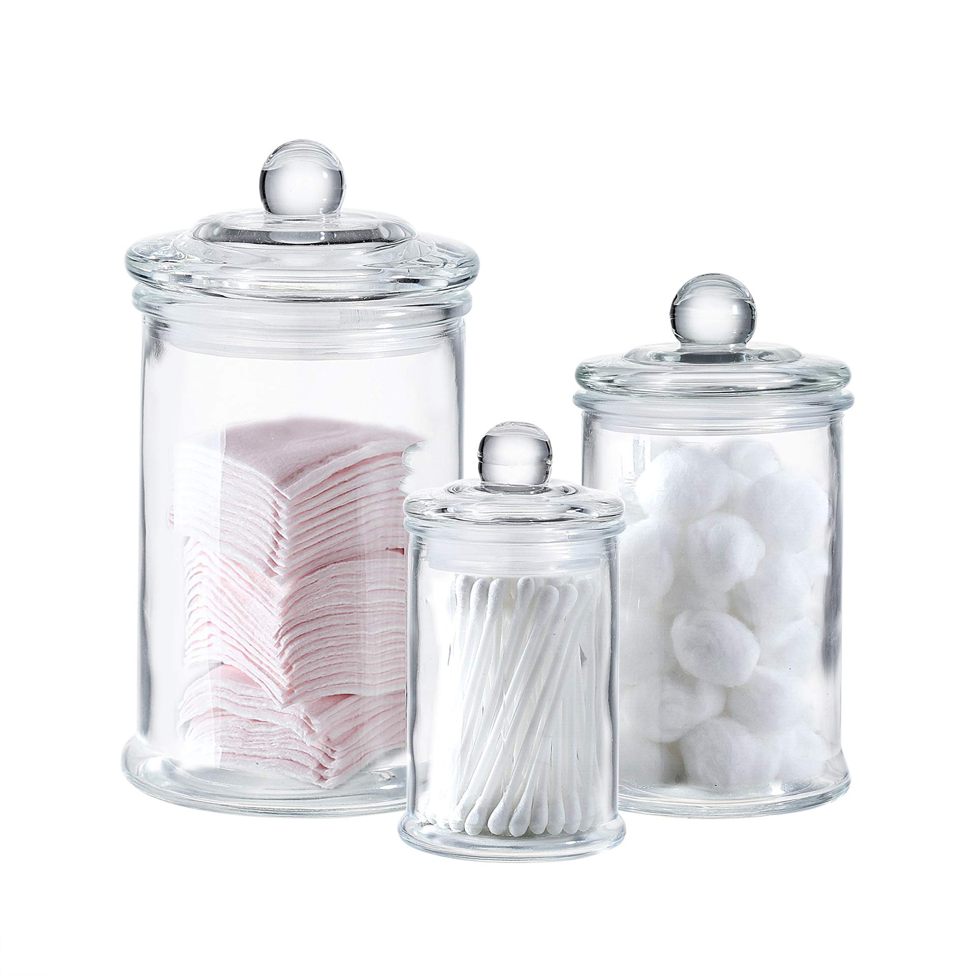 Mini Glass Apothecary Jars-Cotton Jar-Bathroom Storage Organizer Canisters Set of 3 by Whole Housewares