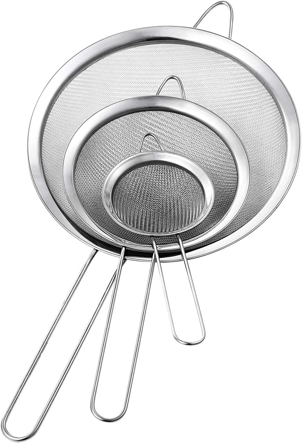 Yqlinnn Fine Mesh Strainer, Set of 3 Stainless Steel Fine Mesh Strainers for Kitchen, Use for Tea, Flour, Pasta, Rice, Juice, Vegetable, Fruit, Etc, 3.15