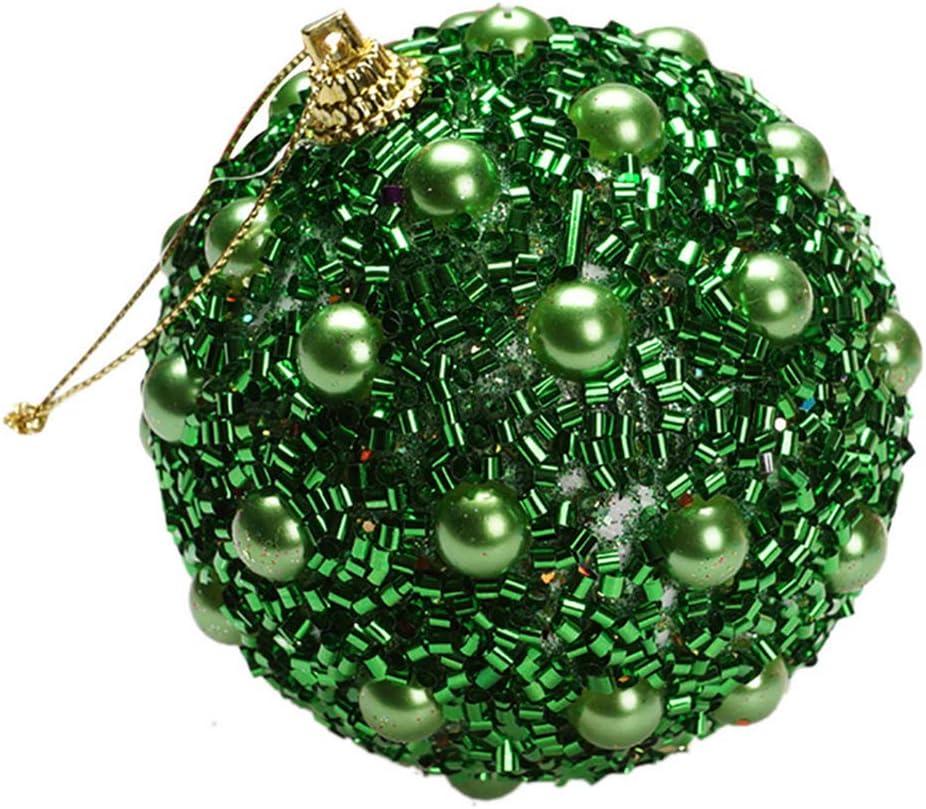 Danigrefinb Bola de Navidad, Bola de Espuma de Perlas de imitación con Purpurina Colgante de árbol de Navidad para decoración del día de Navidad