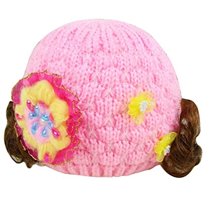 Smarstar – nuevo sombrero de punto invierno grueso con lana interior gorro décoré un flor y