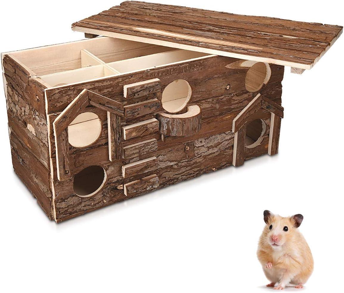 Navaris Casa de Juegos de Madera para roedores - Casa Laberinto con Escalera para Ratones hámster 39 x 20 x 27.5CM - para Usar Dentro de una Jaula