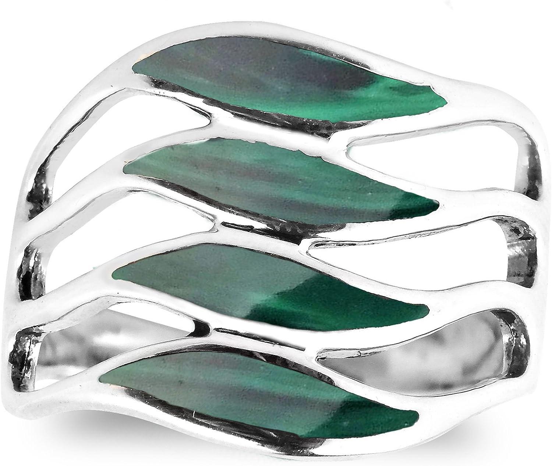 AeraVida Amazing Waves Myriad of Green Malachite Stone Sterling Silver Ring
