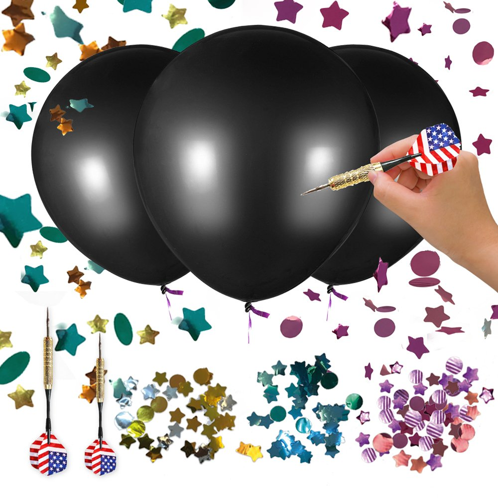 Wonash 3 Pack 36 Inch Baby Gender Reveal Balloon Boy, Girl or Twin Gender Reveal Balloons   Blue, Pink, Gold & Silver Confetti + US Flag Dart   Perfect for Gender Reveal Party Supplies