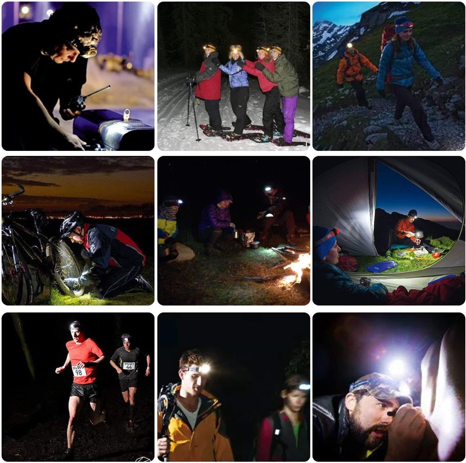 12 AAA batteries included /… Waterproof Head Light for Running Zukvye Dimmable Headlamp Camping Ultra Bright 230 Lumen White /& Red LED Headlamps DIY /& More