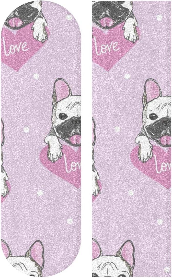 JEOLVP 33.1x9.1inch Sport Outdoor Grip Tape French Bulldog Friend Dog Print Waterproof Skateboards Sandpaper For Dancing Board Double Rocker Board Deck 1 Sheet