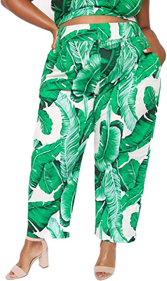 Astra Signature Women s Plus Size Palm Print Casual High Waist Ankle Pants with Pockets