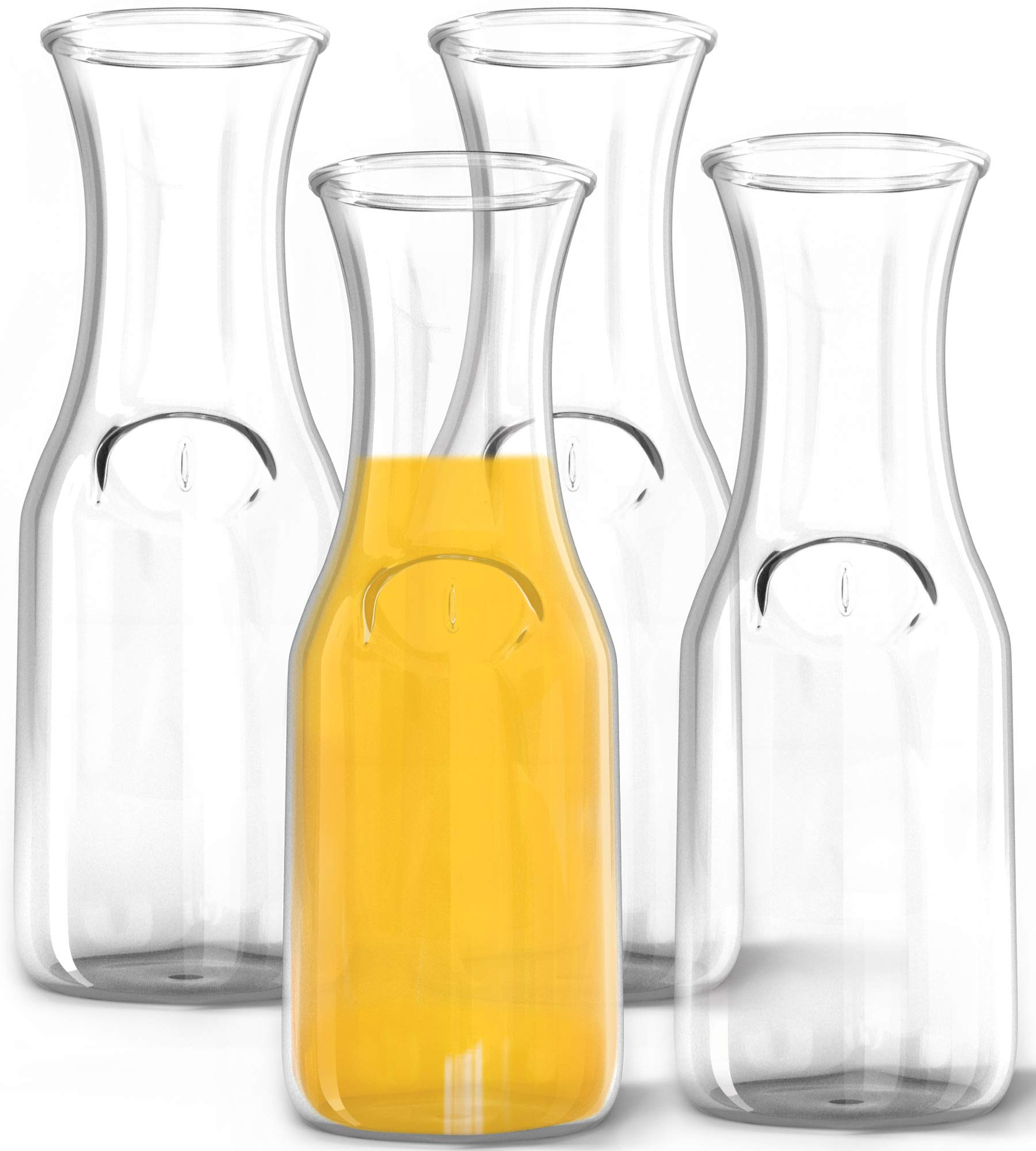 1 Liter Glass Carafe, 4 Pack - Elegant Wine Decanter and Drink Pitcher - Narrow Neck For Comfortable Grip, Wide Mouth For Easy Pouring - Great for Parties and Events - Kitchen Lux