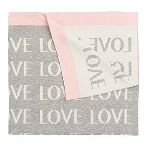 Elegant Baby Premium 100% Cotton Knit Blanket, Grey Love with Pink Trim, 30