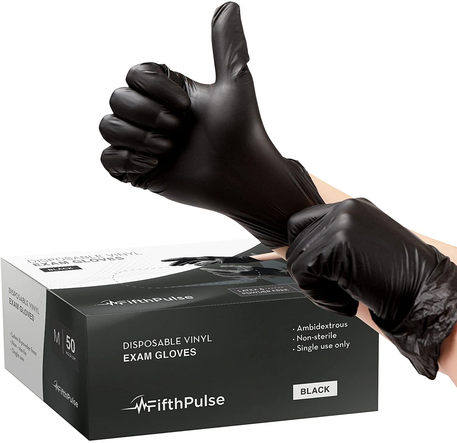 FifthPulse Black Vinyl Disposable Gloves Medium 50 Pack - Latex Free, Powder Free Medical Exam Gloves - Surgical, Home, Cleaning, and Food Gloves - 3 Mil Thickness