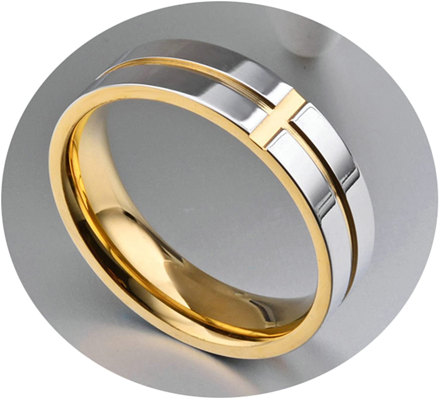 Bishilin Stainless Steel Rings for Him Cross Round Wedding Ring for Men Gold Size 9