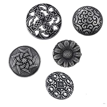 Yeenee Metal Coat Buttons - 50Pcs Mixed Antiqued Silver Flower Pattern  Round Decorative Buttons for Shirts Cardigans Blazer Suits Coats Uniform  Jacket