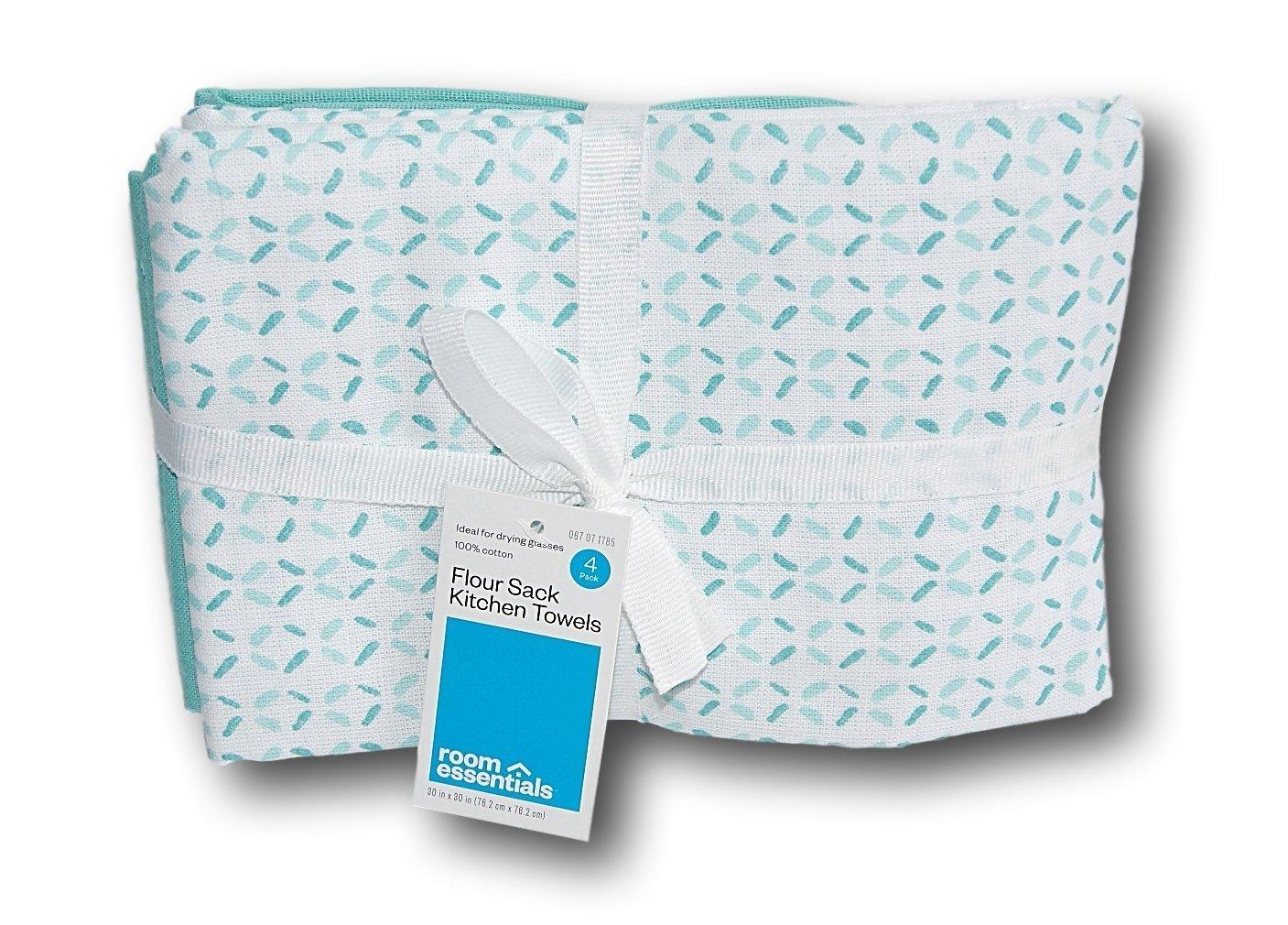 Amazon.com: Room Essentials Flour Sack Kitchen Towel - Aqua Blue ...