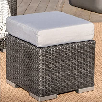 Awesome Amazon Com Oversized Square Cocktail Ottoman Gray Outdoor Gmtry Best Dining Table And Chair Ideas Images Gmtryco
