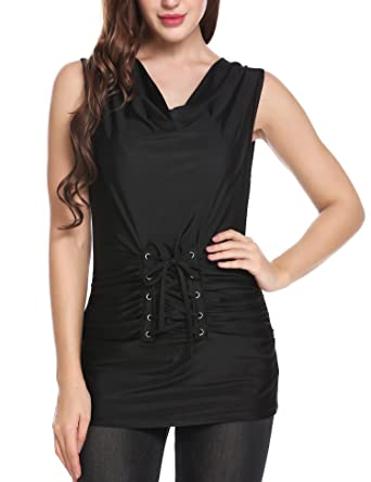 ec9e835b06191 Meaneor Women Ladies Bandage Lace Up T-Shirt Tops Blouse Vest Summer Casual  Cowl Neck Sleeveless Solid Lace-up Pleated Tunic Elastic Tank Top   Amazon.co.uk  ...