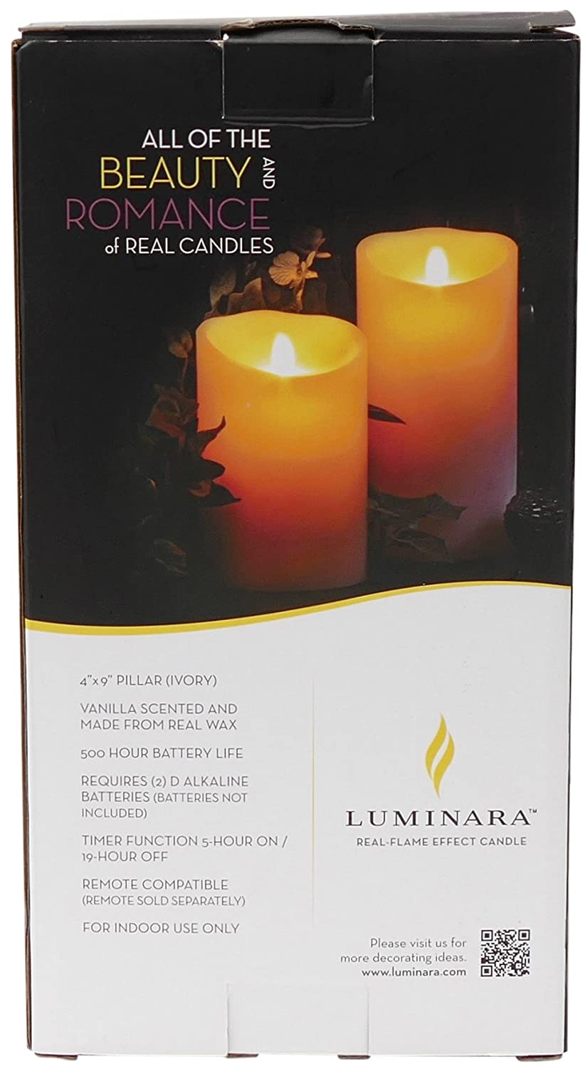 4x9 Ivory LM490B Luminara Flameless Vanilla Scented Moving Flame Candle With Timer