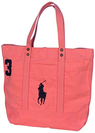 Polo Ralph Lauren Canvas Big Pony Zip Tote Bag-Perfectly Pink