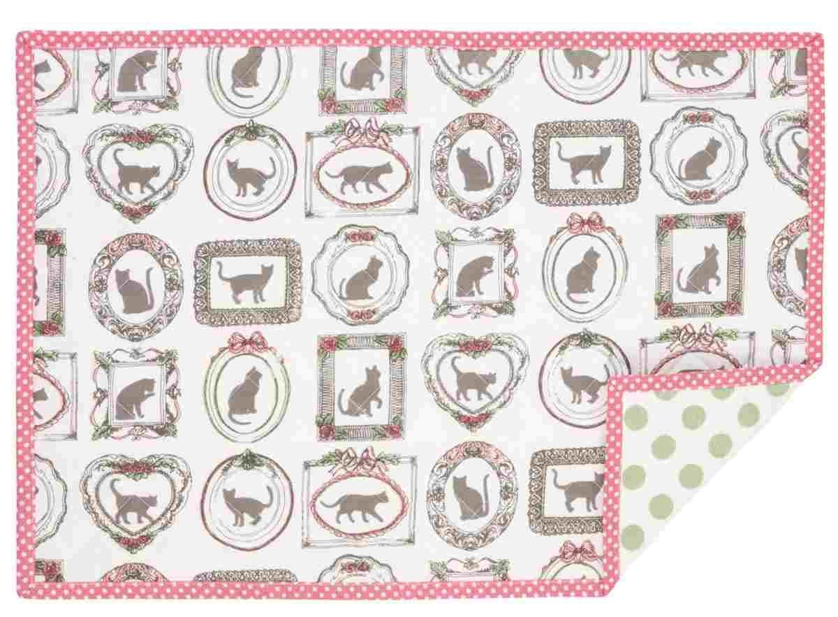 Clayre & Eef MPC40 Mon Petit Chat - Set di 6 tovagliette - Doppio motivo ca. 48 x 33 cm