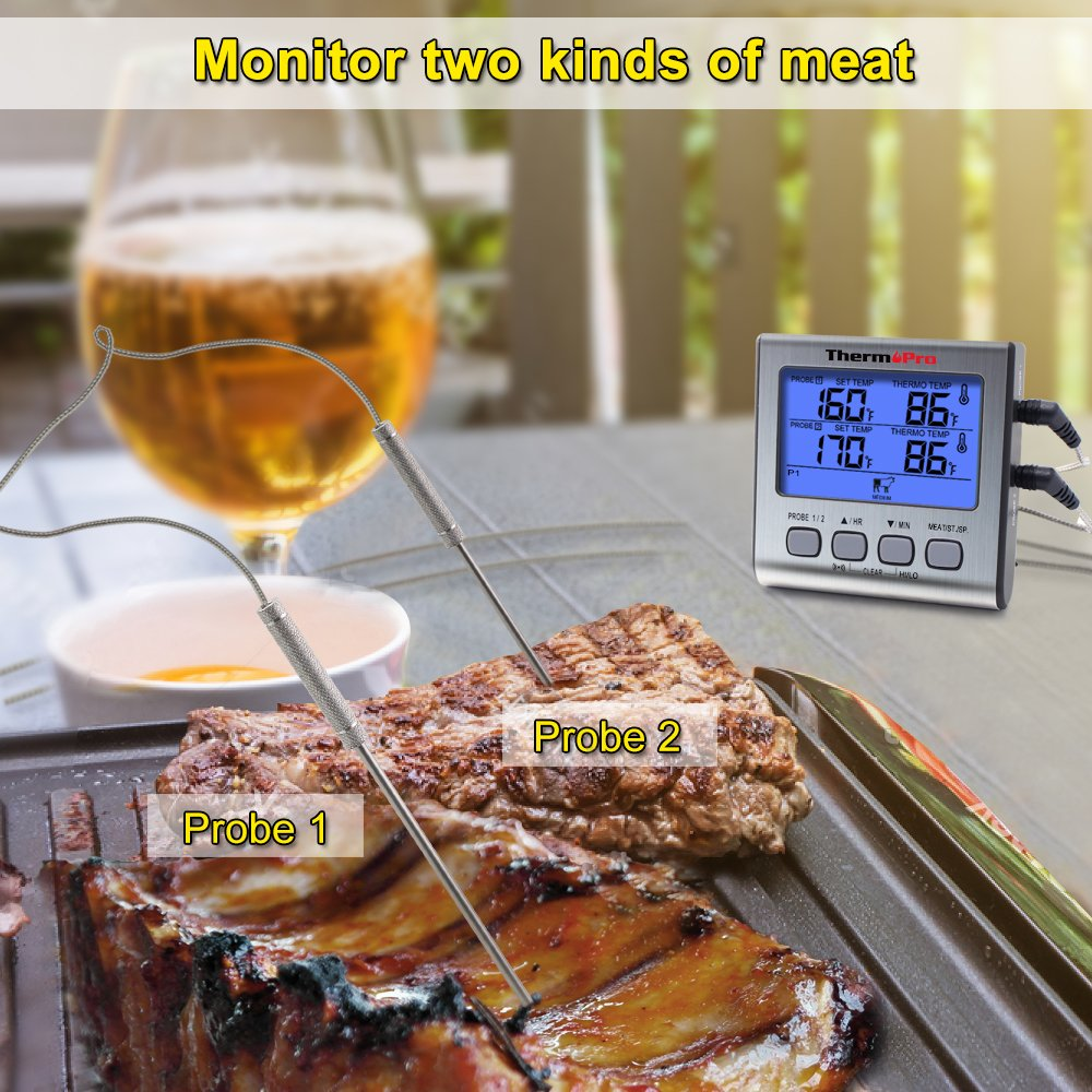 ThermoPro TP17 Dual Probe Digital Cooking Meat Thermometer Large LCD Backlight Food Grill Thermometer with Timer Mode for Smoker Kitchen Oven BBQ by ThermoPro (Image #2)