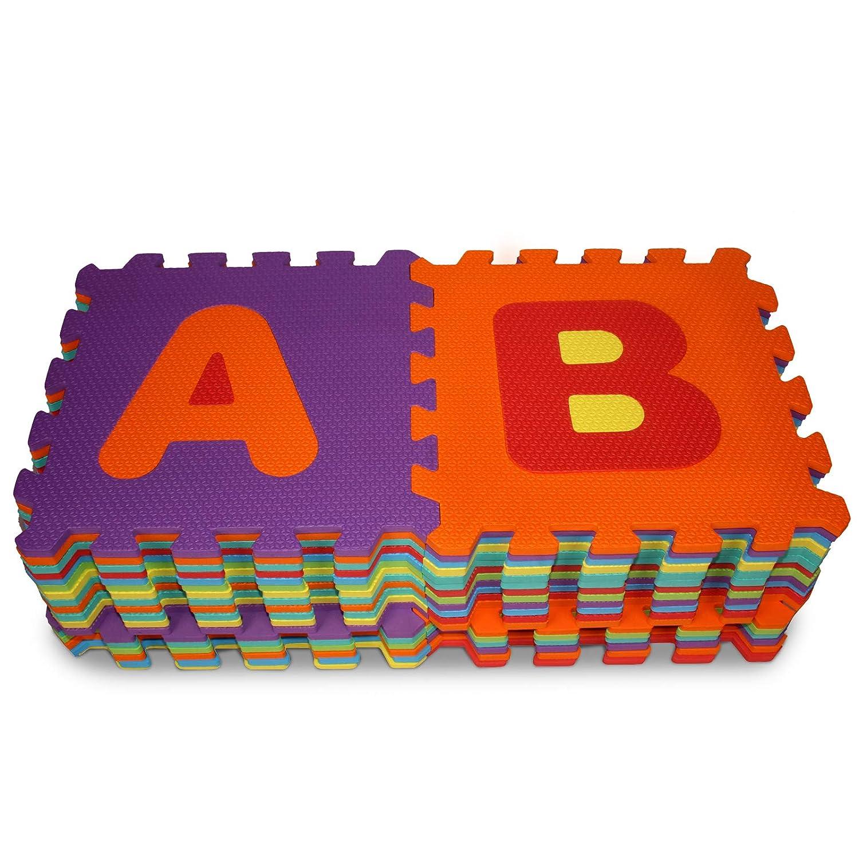 Schaumstoffmatte Kinderspielteppich Spielmatte Puzzlematte Puzzleteppich Bunt Buchstaben und Zahlen EVA Schaumstoff Kinderteppich 86-430 Teile Oberfl/äche 3,57 m2-17,85 m2 Spielteppich